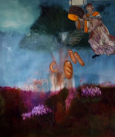 Az éhezők fája, szén, akril, olaj, vászon157x170cm,2014